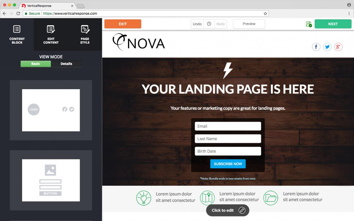 Direct your visitors to a custom landing page